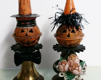 Halloween Bride Groom Pumpkin Beulah Bride & Gruesome Groom Wedding OOAK Folk Art Primitive Assemblages