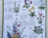 1986 Calendar Botanical Tea Towel in German.