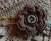 Victorian Steampunk Brown Lace Crochet Flower Green Leaves Shawl Clasp Sweater Pin Hat Pin