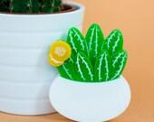 Flowering Cactus statement Brooch succulent plants laser cut perspex cacti pin handmade in the UK