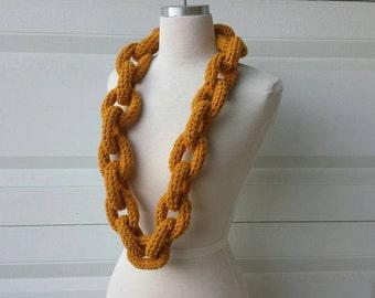 Golden Glittery Crocheted Chain Link Eternity Scarf Necklace - Vegan Friendly Gold Acrylic Oversized Chainlink Neckscarf w/ Sparkle Thread