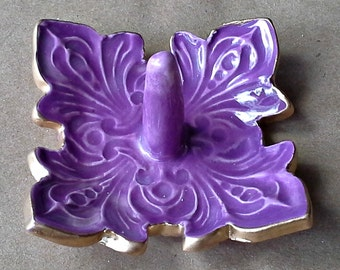 Ceramic Ring Holder Bowl Purple fleur de lis