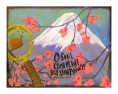 Snail climbing Mount Fuji ... original painting