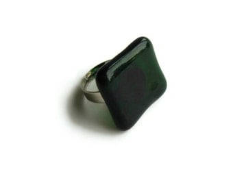Green Square Glass Ring, Adjustable Statement Ring, Women Cocktail Ring, Cute Rings, Dark Green Solitaire Ring, Gifts for Her Under 10