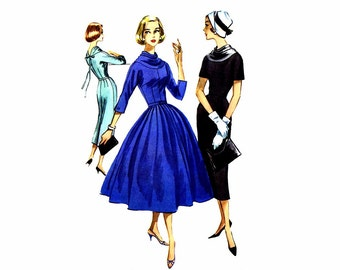 1950s Cowl Neck Slim or Full Skirt Dress McCalls 4212 Vintage Sewing Pattern Full Figure Size 18 Bust 38