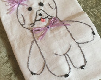Hand Embroidered Flour Sack Towel 100 pct cotton Embroidered with a Sweet LIttle Bichon Dog with A  Lavender Bow in her Hair.