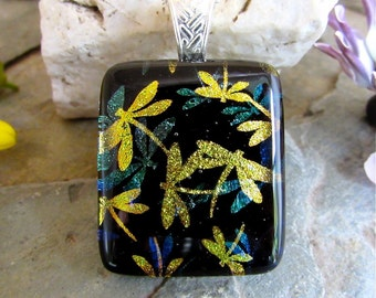 Dragonfly Dichroic Pendant ,  Fused Glass Jewelry , Unique Dichroic