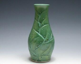 Jade Green Vase with Carved Branch Design
