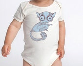 BUSHBABY - lemur creature - baby one-piece organic cotton american apparel onesie Made In The USA