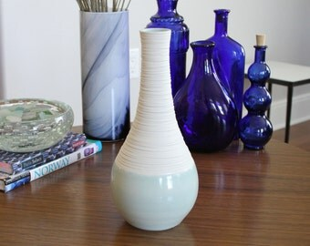 Celadon Ceramic Vase - Groove Vase in Celadon