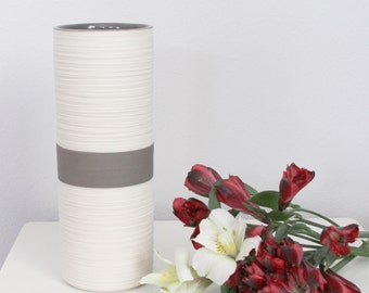 Grey Cylinder Vase - SHOP SALE - Tall Groove Cylinder Vase in Warm Matte Grey