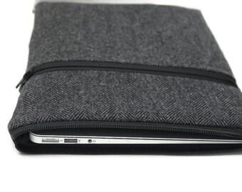 "MacBook Case Laptop Case 11"" 12"" 13"" 15"" MacBook Air or Pro Cover HP Spectre x360 3t - Gray Herringbone Wool"