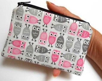 SALE Owls Little Zipper Pouch Coin purse ECO Friendly Padded  Mini Pink Owls