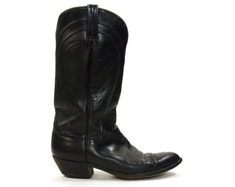 Handmade Cowboy Boots by Stuart Boot Co Tucson AZ / Black Leather / Women's size 11  / Men's size 9.5