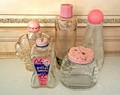 Lot of 5 Shabby Vintage Perfume Vanity Bottles Pink Caps 60's 1960's