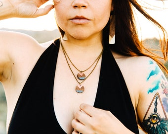 Joan Necklace/ Wood Circle Pendant/ Double Chain Layering Necklace/ Antique Brass Curb Chain/ Classy/ Dipped Neutral and Metallic Colors
