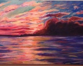 Sale July Sunset at Manistee Lake Michigan Colorful Acrylic Painting 12x30 by Candace Byington