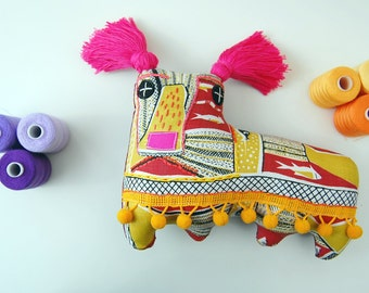 Textile Art Soft Sculpture Dog Doll Called Sidney the Sun Worshipper