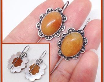 Orange Flower Earrings, Handcrafted Sterling Silver Stone Earrings, Mango Chalcedony Stones, Metalsmith Dangle Earrings, Floral Boho Chic