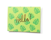 Hello, Palm Gold Foil Notecard