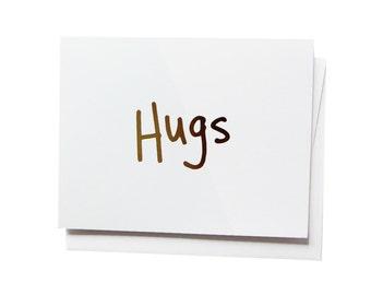 hugs, Gold Foil Notecard