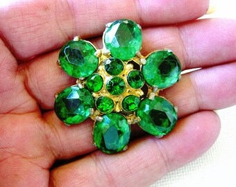 Lovely and Larger Vintage Emerald Green Glass Rhinestone and Metal Button