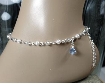 Something Blue Anklet Bridal Anklet Swarovski Pearl Crystal Ankle Bracelet Bridal Gift  Wedding