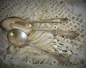 beautiful trio assorted vintage spoons 3 assorted silver plate spoons H A J monogram floral repousse specialty spoon