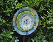 Recycled Plate Flower Blue, Green and Yellow