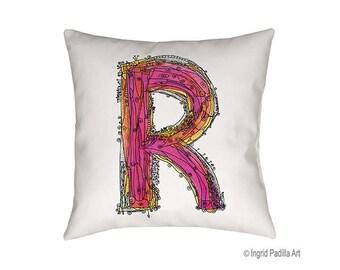 Whimsical, Letter, R, Pillow, Decorative, monogram pillow, Illustration, funky, typography, Alphabet, Art, Printed fabric, Ingrid Padilla