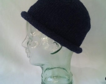 Fishermans Beanie, wool acrylic blend, roll brim short beanie, heathered blue