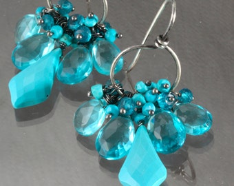 Turquoise Swiss Blue Quartz Wire Wrapped Oxidized Sterling Silver Chandelier Earrings