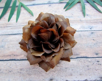 Chocolate Brown Rose Hair Clip, Brown Pinup Rose, Rockabilly Rose