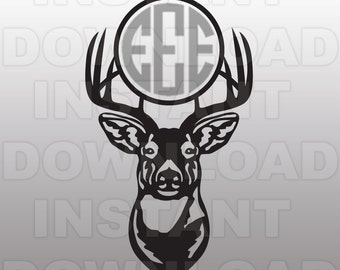 Buck Head Deer Hunting Monogram SVG File Cutting Template-Silhouette Clip Art for Commercial & Personal Use-Cricut,SCAL,Cameo,Sizzix,Vinyl