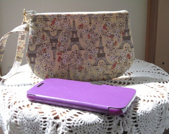 Clutch Wristlet Zipper Gadget Pouch Case  Paris in Spring - Beige