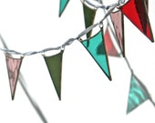 Glass Bunting, Boho Stained Glass Bunting Garland Colourful Window Suncatcher Decoration in Red, Turquoise, Green and Mauve Pinks