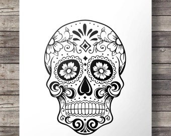 Sugar Skull | Mexican folk skull | Printable art | Modern minimalist sugar skull | graphic Printable wall art | Dia di los Muertos print