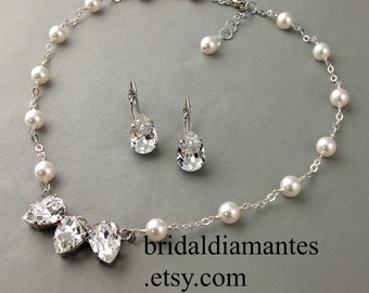 Faceted Pear Focal Point 16 Inch Necklace and Earring Set, Choice of White or Cream Pearls, Rhinestone and Pearl Necklace,Swarovski Elements
