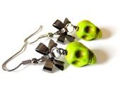 Green Skull Earrings, Gunmetal Bows, Sugar Skull Earrings, Day of the Dead, Dia de los Muertos