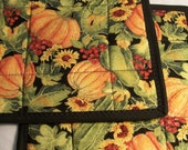 Quilted Pumpkin and Gourds Potholders Pot Holders with Sunflowers
