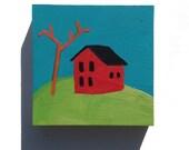 Little Houses, original acrylic painting, miniature art, original art, red house, hillside,  landscape, affordable  art