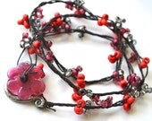 Seed Beaded Knotted Necklace in Tomato and Petal Pink