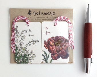 Flower Gift Tags, Set of 10