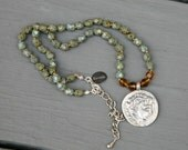 Olive Green Czech Glass Antiqued Coin Pendant Knotted BOHO Style Necklace