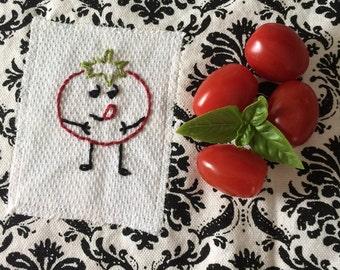 Embroiderd Dish Towel- happy tomato