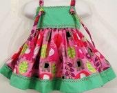 Girls Knot Dress, Elephant Mint Top  Little Girls Dress, Embroidered Dress, Girls Clothing, Baby Toddler Tween , Handmade in the USA  #394