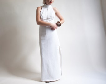 niagara white halter maxi dress / vintage 70s gown / fitted maxi dress / s / 1397d