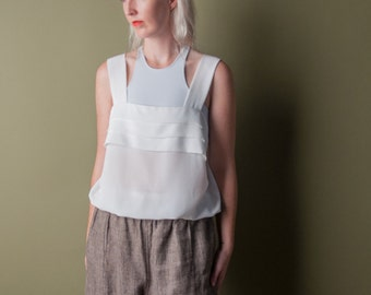 shore leave 70s pleated tank top / slouchy tank / white tank top / s / m / 946t