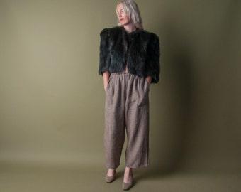 sashamarie black fox fur cropped jacket / black fur jacket / glam jacket / s / m / 082o