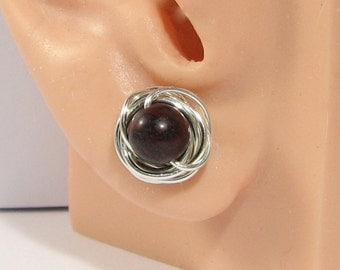 Brecciated Jasper or choice Sterling Silver Wire Wrapped Stud Earrings 76 Gemstone or Swarovski Crystal options